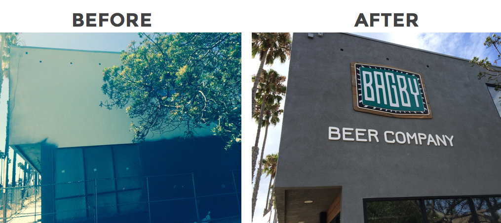Before and after pictures Exterior signage customer logo reclaimed wood with dimesional of dimensional graphics applied to exterior of building