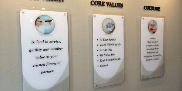 Corporate office signage - Acrylic plaques with digital graphics printed and hung in the lobbyg