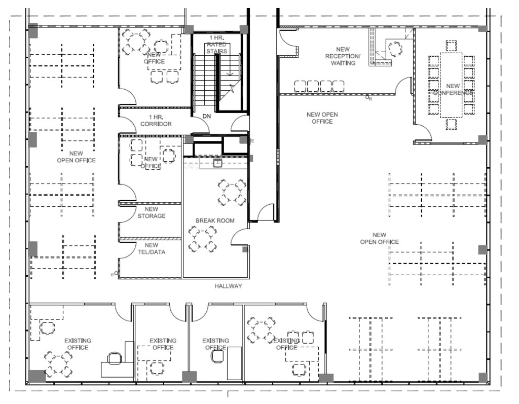 Simple blueprint of customer offices prior to our corporate office design