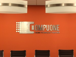 picture of brushed aluminum lobby sign San Diego a company business signs San Diego